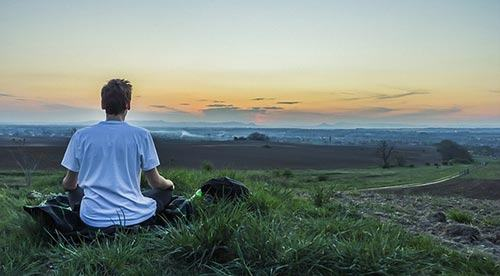 Golfer meditating