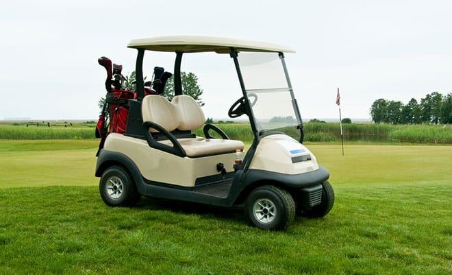 golf cart with a fixed fuel pump