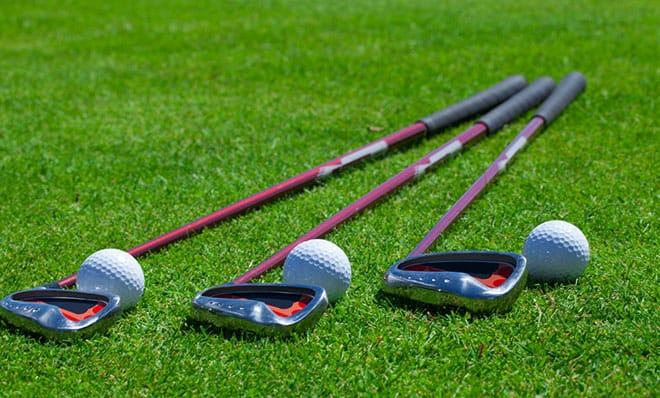 stiff and firm irons on grass